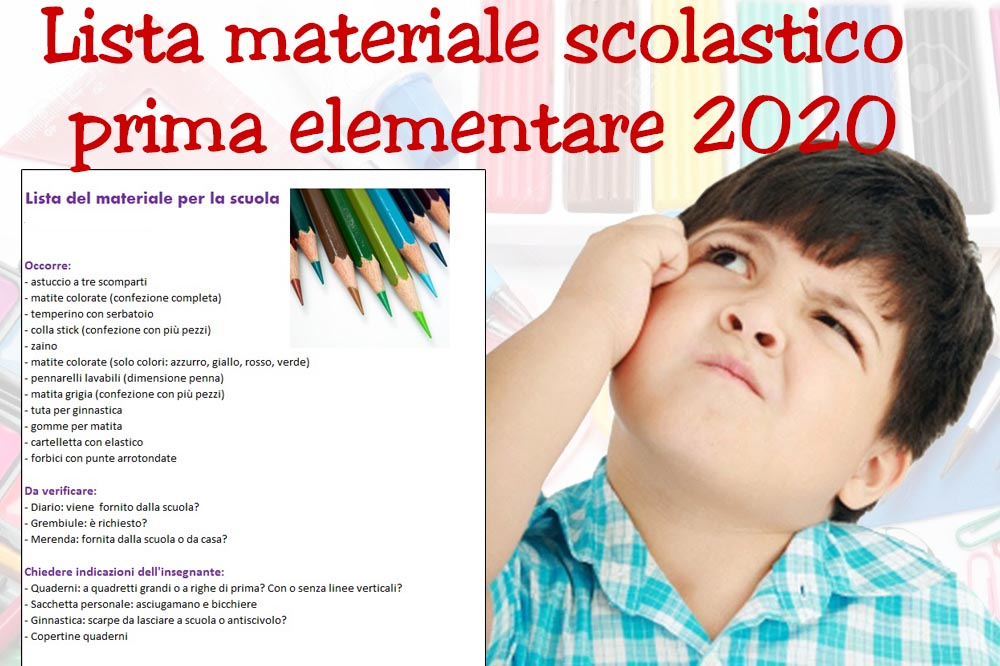 Lista materiale scolastico primaelementare